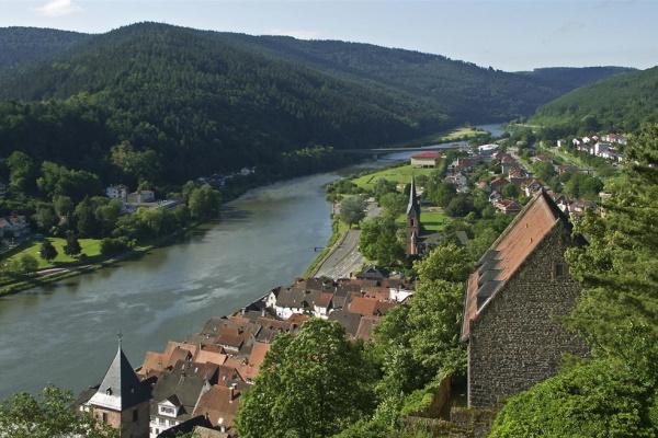 Herrlicher Ausblick vom Schloss Hirschhorn ins Neckartal