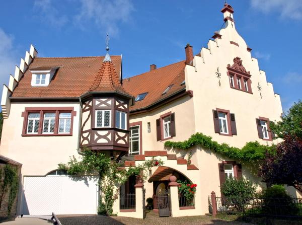 Die Schlossanlage Mosbach, an der höchsten Stelle im Südwesten der Stadt errichtet, besteht aus zwei Hauptgebäuden, dem sogenannten Alten (Schlossgasse 24), hinteren und dem sogenannten Neuen (Schlossgasse 28), vorderen Schloss mit Resten des Schlosspa