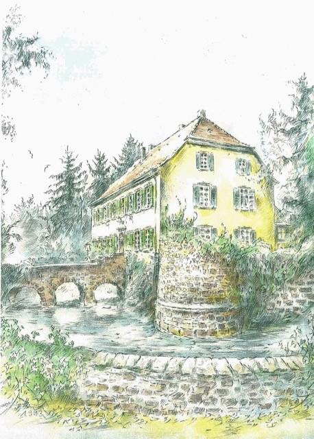 Ältere Zeichnung von der Wasserburg